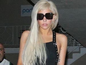 Lady Gaga leaves a recording studio in Hollywood at 1am.