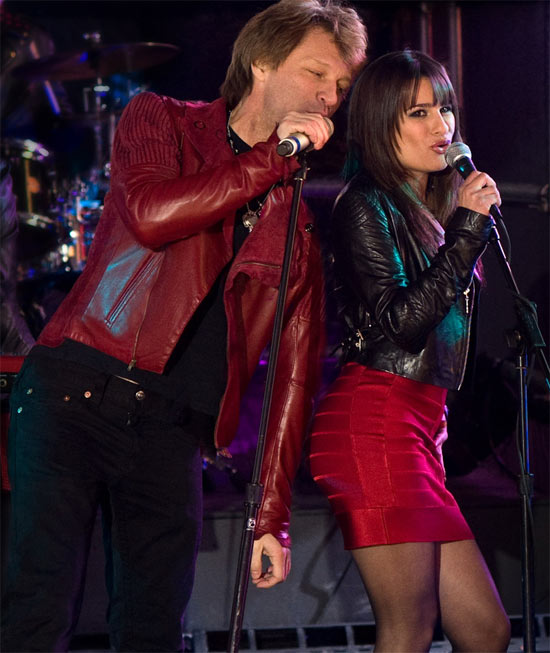 Bon Jovi and Lea Michele in a scene from 'New Years Eve'.