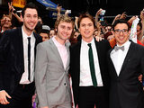 Blake Harrison, James Buckley, Joe Thomas and Simon Bird arrive for the world premiere of The Inbetweeners Movie