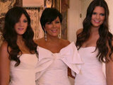 Kris Jenner with Kylie and Kendall at Kim Kardashian's wedding to Kris Humphries as filmed by E! News