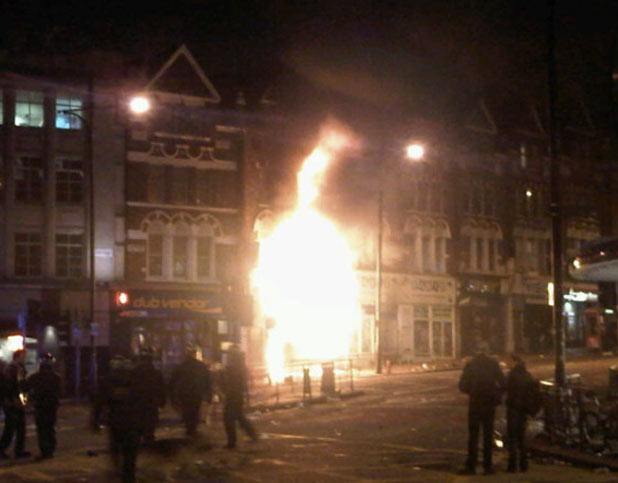 The Party Superstore on fire in Clapham Junction