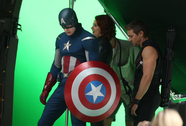 Chris Evans, Scarlett Johansson and Jeremy Renner