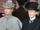 Mia Wasikowska and Glenn Close filming Albert Nobbs.