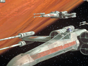 X-wings head off to attack the Death Star