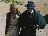 Johnny Depp filming new Tim Burton movie 'Dark Shadows' on location on a remote beach in Devon