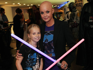 Gail Porter fires up her lightsaber on the blue carpet