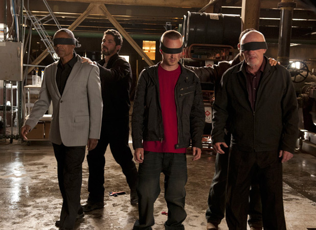 Gustavo Fring (Giancarlo Esposito), Gaff (Maurice Compte), Jesse Pinkman (Aaron Paul) and Mike (Jonathan Banks)