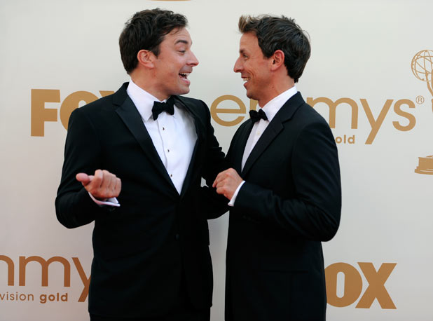 Jimmy Fallon and Seth Meyers on the red carpet at the 63rd Primetime Emmy Awards