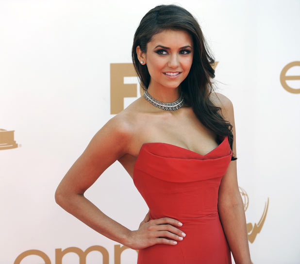 Nina Dobrev on the red carpet at the 63rd Primetime Emmy Awards