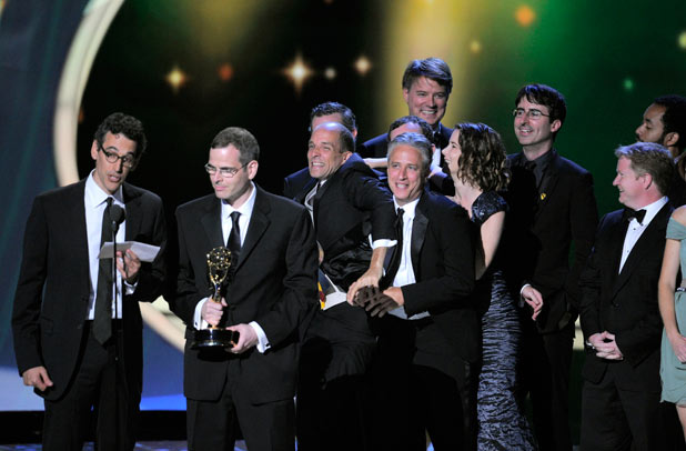 "John Stewart and the crew of ""The Daily Show with John Stewart"" accept the award for outstanding variety, music, or comedy series"