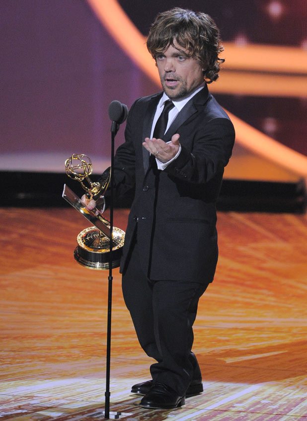 Peter Dinklage accepts the award for outstanding supporting actor in a drama series