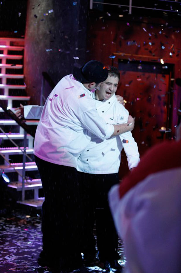 Hell's Kitchen: Winner Paul is congratulated by Will