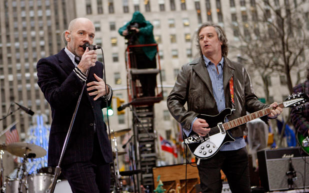 Michael Stipe and Peter Buck shown during their performance on NBC's 'Today' which took place in New York's Rockefeller Plaza, 2008