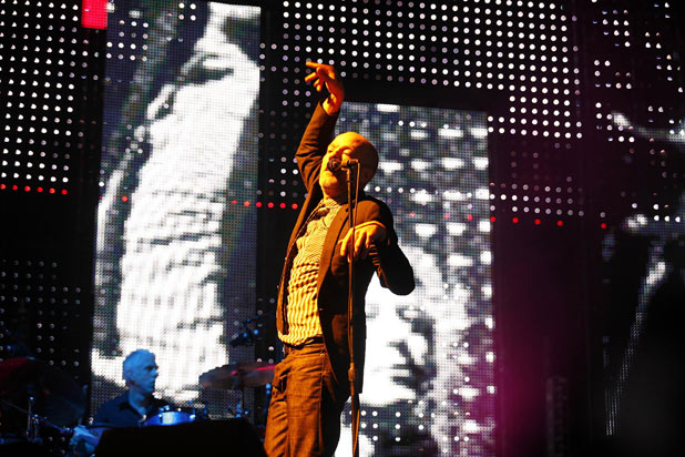 Just what the crowd waited for...Michael Stipe during R.E.M.'s epic 2008 perfomance in Twickenham Rugby Stadium, London