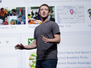 Facebook CEO Mark Zuckerberg talks about Timeline during the f/8 conference