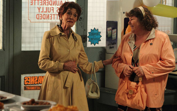 Heather Trott (Cheryl Fergison) helps Dot Branning (June Brown) to celebrate 50 years of service at the launderette