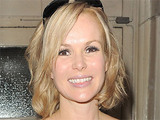 Amanda Holden leaving London's Theatre Royal, having performed in 'Shrek: The Musical'