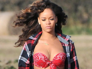 Rihanna on the video shoot for 'We Found Love'