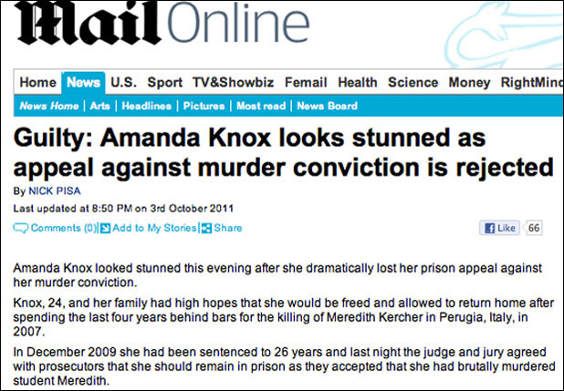 Amanda Knox 'Guilty' Daily Mail