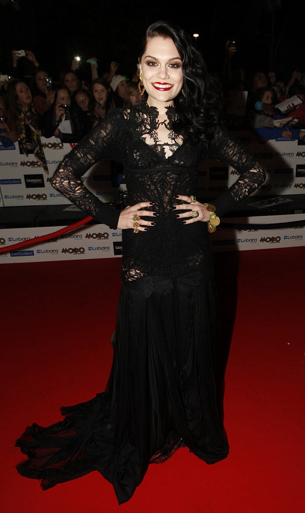 Jesse J arriving at the Mobo Awards 2011