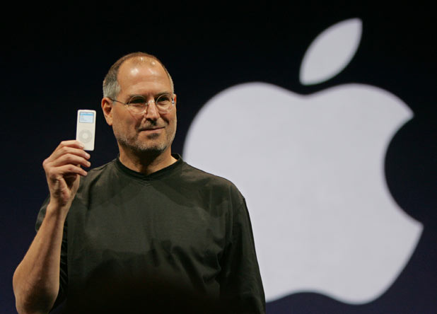 Steve Jobs holds up the new iPod Nano