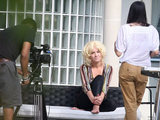 Kitty Brucknell has her photo taken in the garden of the 2011 X Factor contestant house