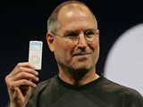 Steve Jobs holds up the new iPod Nano during an announcement in San Francisco, 2005