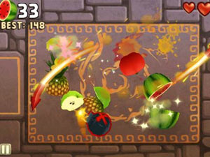 Screenshot from Fruit Ninja: Puss in Boots