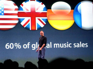 Steve Jobs at the launch of the iTune on-line music store, the first online music market in Europe, 2004