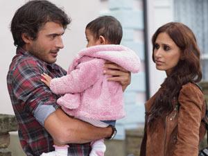 Syed Masood (Marc Elliott), Amira Shah (Preeya Kalidas) and baby Yasmin
