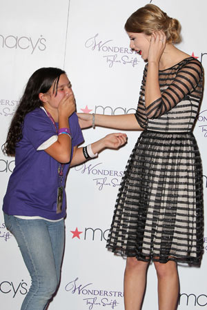 Taylor Swift promotes her new fragrance Wonderstruck at Macys Herald Square