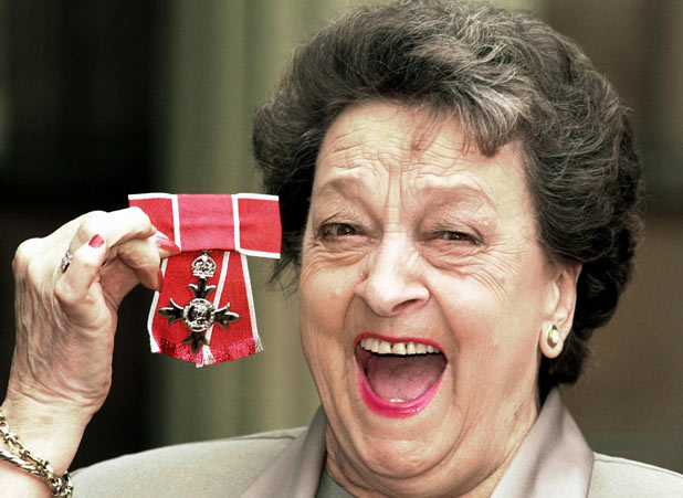 Betty Driver after she received her OBE at Buckingham Palace in 2000.