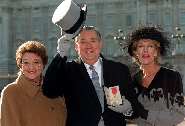 Betty Driver joins Brian Mosley and Sue Nicholls during filming outside Buckingham Palace in 1995