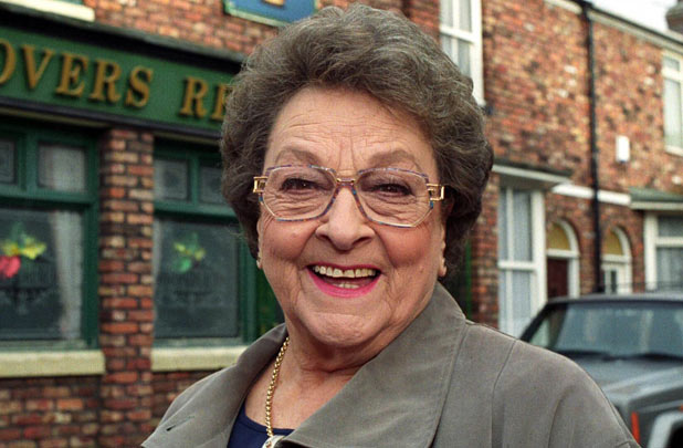 Betty outside the Rovers Return