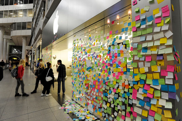 Fans outside Apple's Toronto store