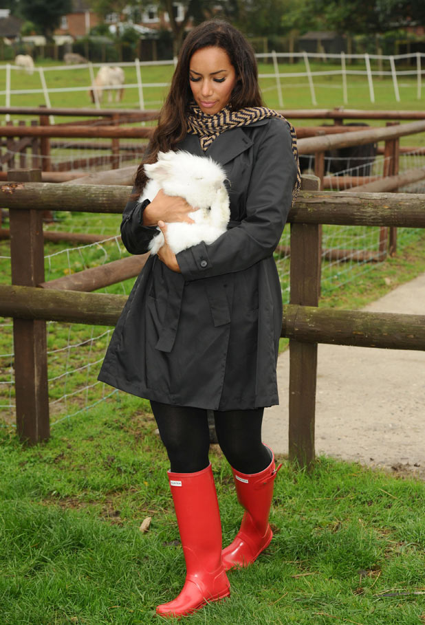 Leona Lewis cuddles a rabbit