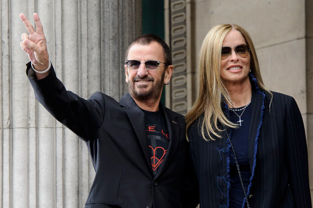 Peace and love from Ringo Starr and Barbara Bach at Marleybone Town Hall