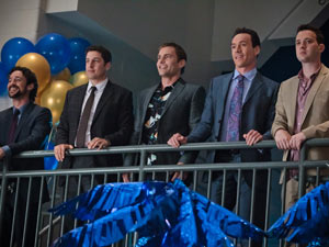 From left to right: Kevin (Thomas Ian Nicholas), Jim (Jason Biggs), Stifler (Sean William Scott), Oz (Chris Klein) and Finch (Eddie Kaye Thomas).