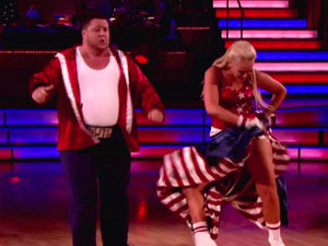 Chaz Bono and Lacey Schwimmer perform on Dancing With the Stars
