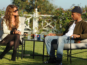 Paula Abdul with guest judge Pharrell