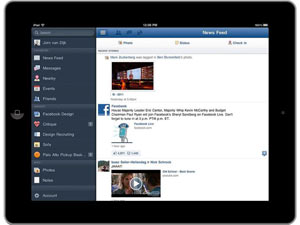 Facebook iPad application screenshot