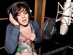 Frankie Cocozza recording 'Wishing On A Star' the X Factor charity single