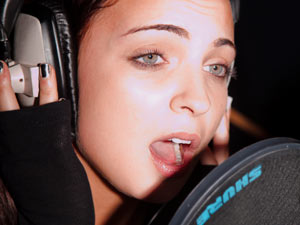 Sophie Habibis recording &#39;Wishing On A Star&#39; the X Factor charity single