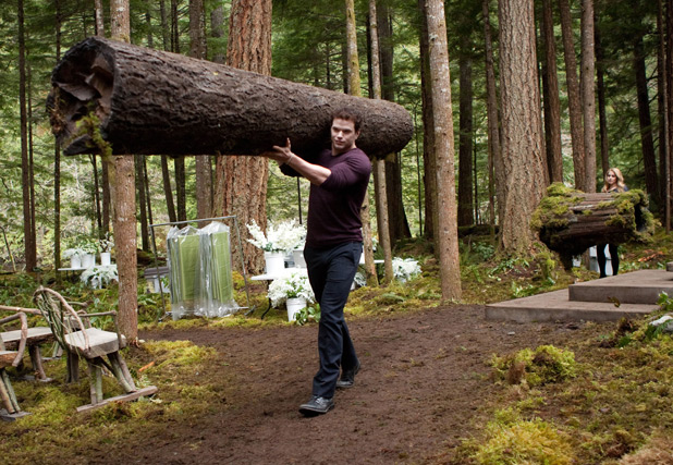 Emmett Cullen shows off his strength.