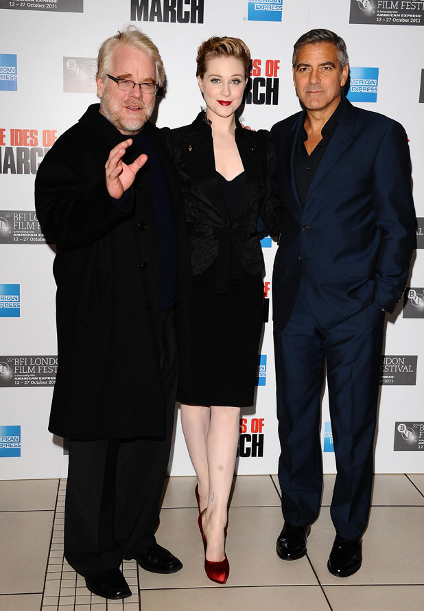 Philip Seymour Hoffman, Evan Rachel Wood and George Clooney