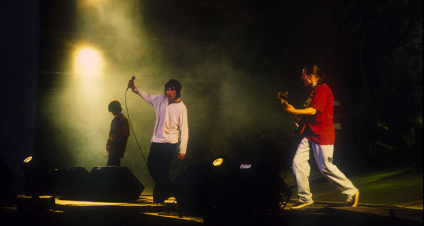 The Stone Roses performing at Spike Island in 1990