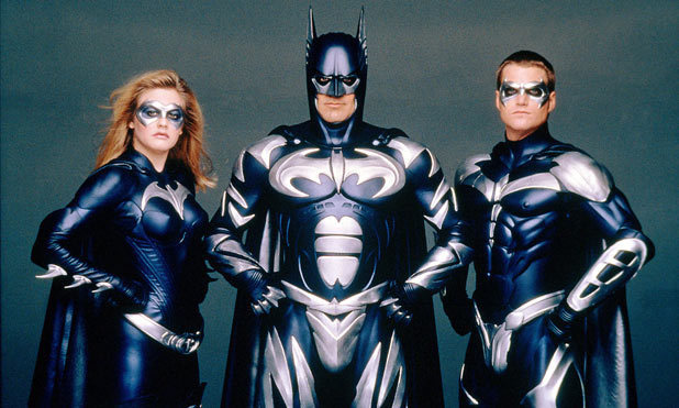 Alicia Silverstone, George Clooney and Chris O&#39;Donnell in &quot;Batman and Robin&quot;
