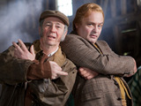 Paul Whitehouse and Charlie Higson pictured on set of The Fast Show in their characters 'Ted and Ralph'