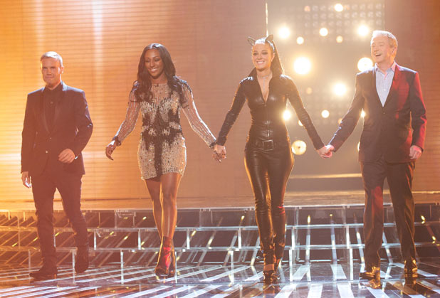 The X Factor judges including Alexandra Burke