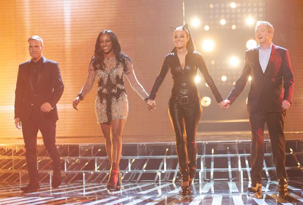 The X Factor judges including Alexandra Burke